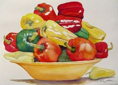 wjfRed Yellow Green Peppers.jpg (803×576)  by Sue Lynn Cotton