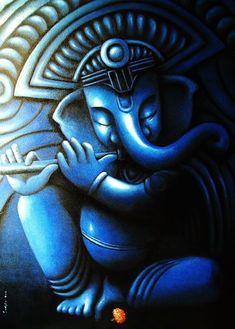 painting by the Indian artist Sudipta Kundu - Paris Art Web Ganesha Drawing, Lord Ganesha Paintings, Ganesha Art, Shiva Art, Krishna Painting, Krishna Art, Hindu Art, Shri Ganesh, Hare Krishna