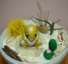 Items similar to Pokemon Terrarium with Sandshrew Diorama, Pokeball Terrarium with stand, 4 inch. Custom orders are availalble on Etsy