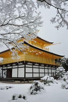Snow in Kinkaku-ji Temple (Golden Pavilion), Kyoto, Japan