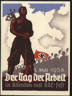 1938, 1. Mai, der Tag der Arbeit in Kärnten mit KdF-Fest, farb. Propaganda-