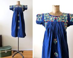 Mexican embroidered dress / floral embroidery dress by MILKTEETHS, $62.00 #embroidered #sundress #navyblue