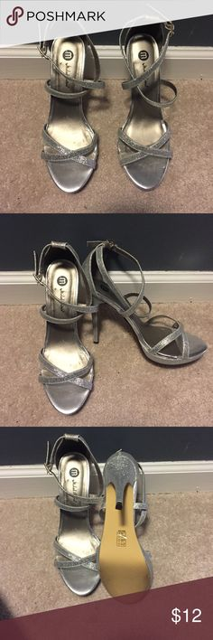 Formal dress shoes Michael Antonio Silver glitter open toe shoe. Worn once for a wedding. Navy Vera Wang bridesmaid dress available as well. Will upload pics soon Shoes Heels