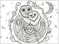 Charted from the art work of Amy Simmonds of Ink a Doodle Doo A Hug of Owls is a full coverage chart measuring 424 stitched wide by 316 stitches high Owl Outline, Bird Coloring Pages, Coloring Books, Doodle Doo, Cross Stitch Charts, Little Gifts, Picture Show, Cross Stitching, Pet Birds
