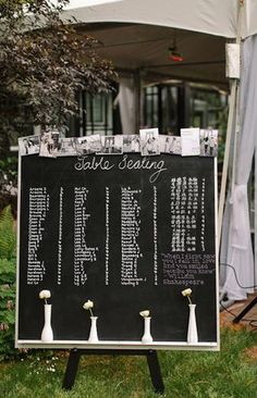 Chalkboard wedding seating chart with bud vase and photo decorations. Wedding Reception Seating, Seating Chart Wedding, Reception Ideas, Diy Wedding, Rustic Wedding, Wedding Dress, Wedding Signs, Wedding Stuff, Chalkboard Seating Charts