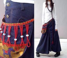Tuareg  nomad skirt with attached bag Q1112b von idea2lifestyle, $66.00