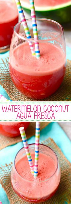 This Watermelon Coconut Agua Fresca is so easy and tastes like summer! Perfect for a hot day!