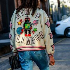 Colorful robot embroidered bomber jacket & jeans | Patches Embellishment Street Style |