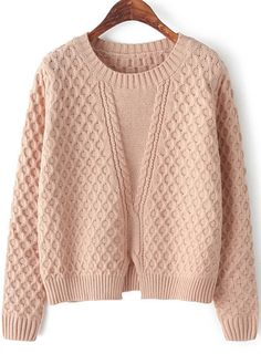 Pink Long Sleeve Split Cable Knit Sweater - Sheinside.com