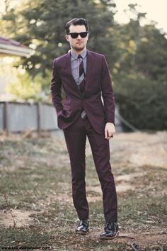 Burgundy suit..  so interesting.