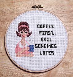 Sassy Lady Coffee Retro Cross Stitch PDF Chart by PinoyStitch