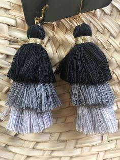 Stacked Tassel Earrings- Grayscale
