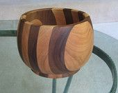 Beautiful hand turned banded cherry & walnut bowl