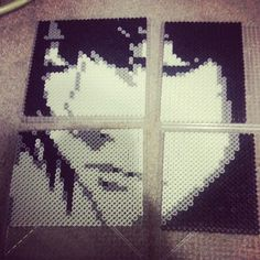 """""""L from Death Note"""" by chikabamxx (Sara) #perler #hama #wall #art #deathnote #L #blackandwhite #anime"""