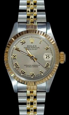 Gray roman dial fluted bezel datejust Rolex lady watch two tone