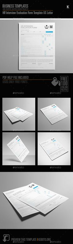 Hr Interview Evaluation Form Template Us Letter | Cmyk & Print