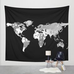 Dark Monochromatic World Map Wall Tapestry Wall Hanging by hhprint