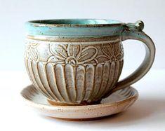 Mug / Teacup Handmade Pottery Ceramic Handmade click the image for more details. Mug / Teacup Handmade Pottery Ceramic Handmade click the image for more details. Pottery Store, Pottery Mugs, Ceramic Pottery, Pottery Art, Slab Pottery, Thrown Pottery, Pottery Wheel, Clay Mugs, Ceramic Clay