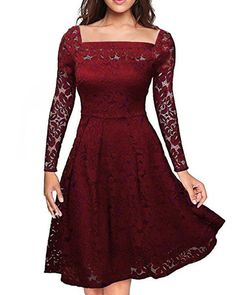 Auxo Womens Vintage Floral Lace Long Sleeve Semi Formal Swing Cocktail Dress Wine Red S -- Click on the image for additional details. (This is an affiliate link)