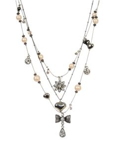 Betsey Johnson mesh bows charm illusion necklace