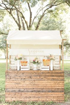 Sangria drink stand, photo by Amalie Orrange Photography http://ruffledblog.com/sangria-inspired-wedding-ideas #weddingideas #drinkbar