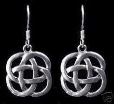 New Celtic Infinity Knot Sterling Silver Wicca Earrings Sterling Silver 925 Jewelry