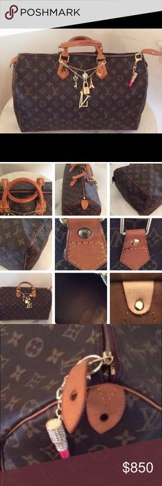 % Authentic Louis Vuitton Speedy 40 EUC 100% Authentic Louis Vuitton Speedy 40. Beautiful honey patina. All tabs in tact, piping all in tact. Inside is extremely clean. One rivet has been replaced by a non LV rivet, have part of original. Comes with lock and key, have it in a duster that's not LV. I don't like folding it down. I keep it stuffed like all my bags.Keychains are just for pictures only, NOT INCLUDED. They were made by someone on another site. Just for fun. TV $1000. Date code is…