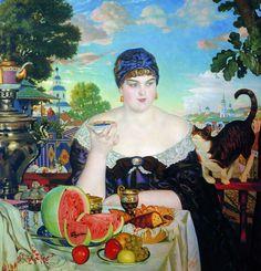 The Merchant's Wife ~ by Boris Kustodiev, showcasing Russian tea culture. #Moscow #Boris_Kustodiev