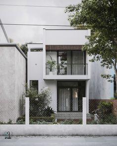 T house 2 Minimal House Design, Minimal Home, Modern Small House Design, H Design, Facade Design, Building Design, Building A House, Narrow House Designs, House Front Design