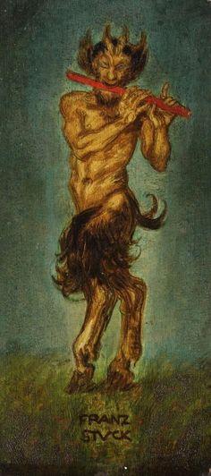 Satyr mit Flöte, 1894 by Franz von Stuck. Maurice Denis, Gustav Klimt, Pan Mythology, Karl Hofer, Male Fairy, Beautiful Dark Art, Max Ernst, Tarot, Greek Art
