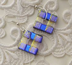 Blue Earrings  Dichroic Fused Glass Earrings  by GalaxyGlassStudio, $18.00