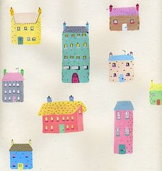 Drawing of tiny houses by Sally Faulkner