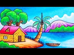How to draw easy and simple scenery for beginners with oil pastels. Drawing a scenery of sea beach house step by step. Drawing Pictures For Kids, Scenery Drawing For Kids, Art Drawings For Kids, Doodle Drawings, Pictures To Draw, Easy Drawings, Landscape Pencil Drawings, Pencil Drawings Of Flowers, Oil Pastel Drawings