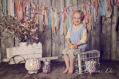 TOO Shabby Easter Torn Fabric Rag Garland Banner Bunting, Nursery Decor, Photo Prop - Easter Pink, Blue, Purple, Yellow, Green. $65.00, via Etsy.