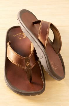 OluKai 'Ohana' Leather Flip Flop (Men) I can't wait for spring so I can  break em out