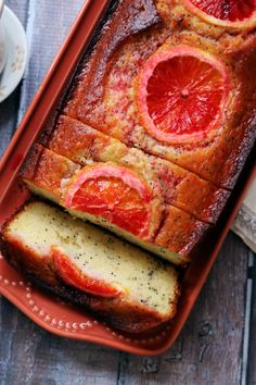 The bright flavor of winter citrus is allowed to shine in this blood orange greek yogurt poppy seed breakfast cake. Breakfast Hotel, Breakfast Cake, Best Breakfast, Breakfast Recipes, Cake Recipes, Dessert Recipes, Greek Yogurt Recipes, Yogurt Cake, Orange Recipes