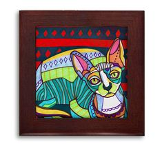 HUGE SALE- Cat Folk Art Ceramic Framed Tile by Heather Galler - Tabby Cats Lover Ready To Hang Tile Frame Gift