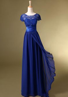 2014 2014 Cheap Bridesmaid Dresses Dress Formal Ball Gowns Royal Blue Prom Short Sleeves With Lace Long Evening Dresses-in Prom Dresses from Apparel & Accessories on Aliexpress.com   Alibaba Group