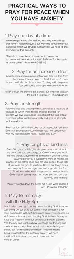 Five prayers to pray for when you're struggling with anxiety. What does God say about anxiety anyway? Should Christians be anxious? Read more or PIN for later at LeahGrey.com