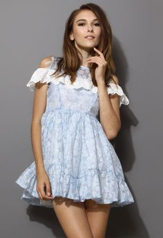 Floral Embroidery Dress with Eyelet Scrolled Trims - New Arrivals - Retro, Indie and Unique Fashion