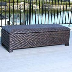 @Overstock - Store your yard and pool items in style with this fashionable storage ottoman. This ottoman functions as both a spacious storage container and a comfortable seat. Stylish brown and stable, this item is perfect for outdoor and indoor use.http://www.overstock.com/Home-Garden/Christopher-Knight-Home-Santiago-Brown-Wicker-Storage-Ottoman/4860415/product.html?CID=214117 $197.99
