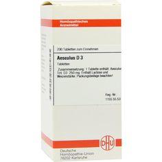 AESCULUS D 3 Tabletten:   Packungsinhalt: 200 St Tabletten PZN: 02811607 Hersteller: DHU-Arzneimittel GmbH & Co. KG Preis: 10,49 EUR…
