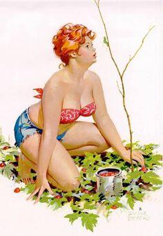"Wall Art Print- Art Reproduction Vintage Sexy Pin-up Girl  Vintage Sexy Plus-size Pin-up Girl Duane Bryers Hilda No.79  Print 8 x 10"""