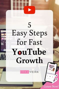 5 Easy Steps for Fast Youtube Growth. Listen to this episode of The YouTube Power Hour Podcast with Erika Vieira and Cassie AKA Thrift Thick. Grow Your YouTube Channel Fast. #YouTubeChannel #GrowYourYouTubeChannel #ThePowerHourPodcast #ErikaVieira Viral Marketing, Marketing Software, Affiliate Marketing, Media Marketing, Marketing Ideas, Marketing Tools, Content Marketing, Online Marketing, Start Youtube Channel