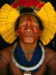Kayapo man in Brazil. Since 1992,