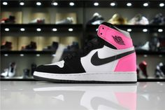 Genuine Air Jordan 1 High OG Valentines Day Black Hyper Pink-White For Sale  - ishoesdesign ca9a46eeb9655