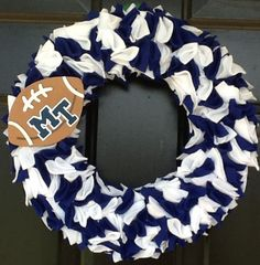 "14"" Middle Tennessee Football Blue and White Wreath. via Etsy."