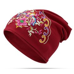 8c3413c1ab6 Womens Ethnic Embroidery Slouch Beanie Thin Cotton National Hat Printting  Multi-function Turban Cap
