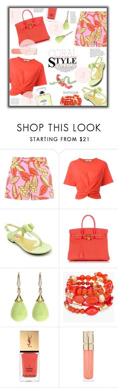 """Coral Passion"" by jckallan ❤ liked on Polyvore featuring Boutique Moschino, Alexander Wang, Isaac Mizrahi, Hermès, Chico's, Chanel, Yves Saint Laurent, Smith & Cult and contestentry"