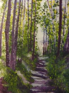 Forest painting original watercolor batik on by MarciaMcKinzieArt
